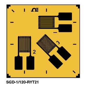 0º/45º/90º 3-Element Strain Gauge Rosette  | SGD-3/120-RYT21