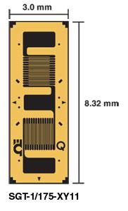 misuratore di deformazione per  trasduttore .La rosetta biassiale 90° x-y a t può essere utilizzata per misurare la deformazione nelle direzioni x e y. |