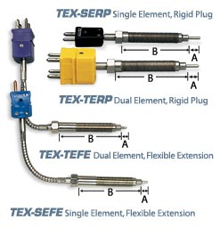TEX Thermocouple Probes with Hastelloy Tips for PFA Extruders | TEX Series